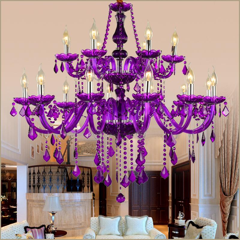 European Style Crystal Chandelier Purple Pendant Light Bedroom Living Room Hqj 90886 Crystal Chandelier Foyer Crystal Chandelier Chandelier