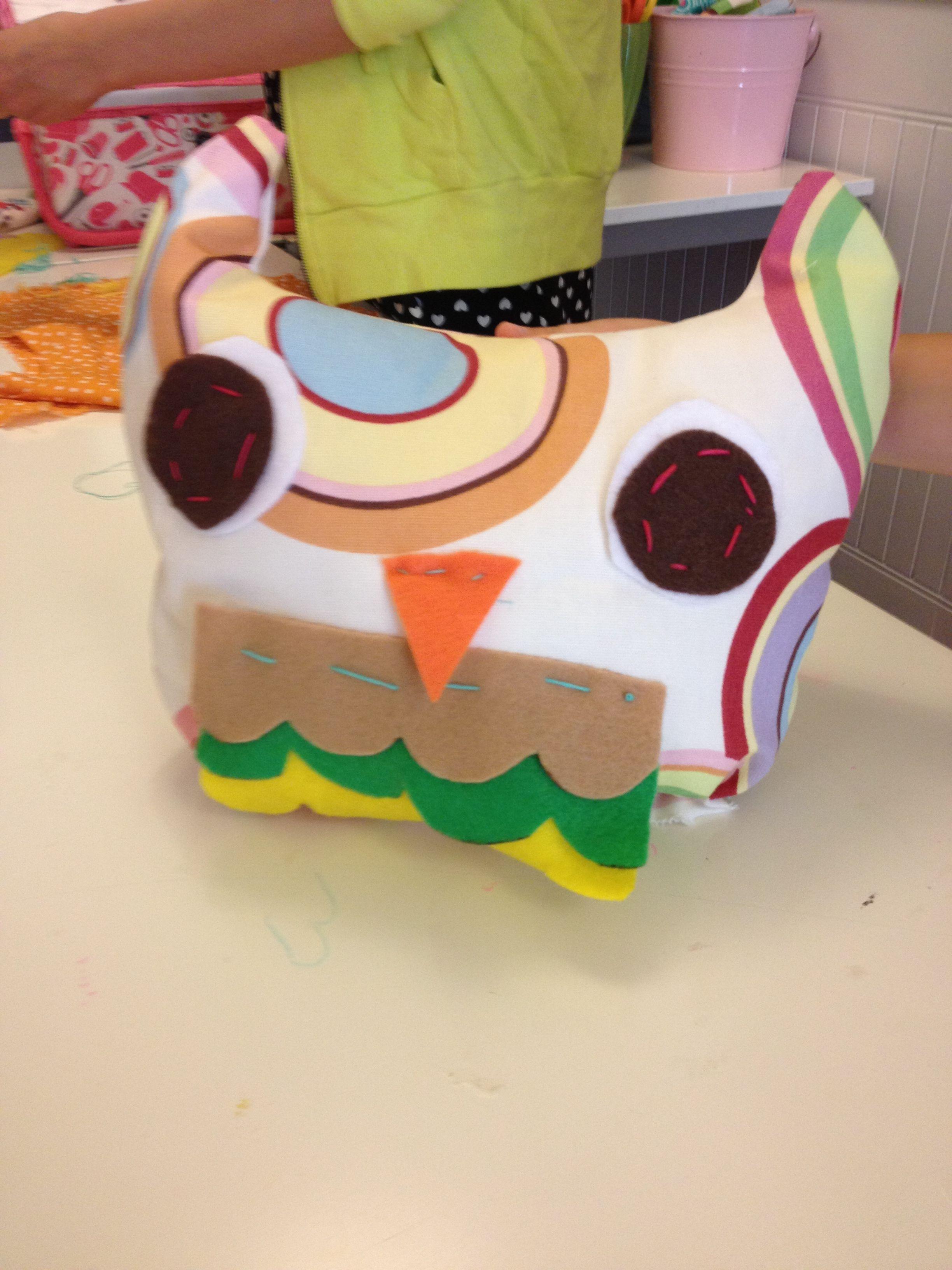 Fabric owl pillows done at Lollipop Art Lounge fabric Friday art camp. Www.lollipopartlounge.com