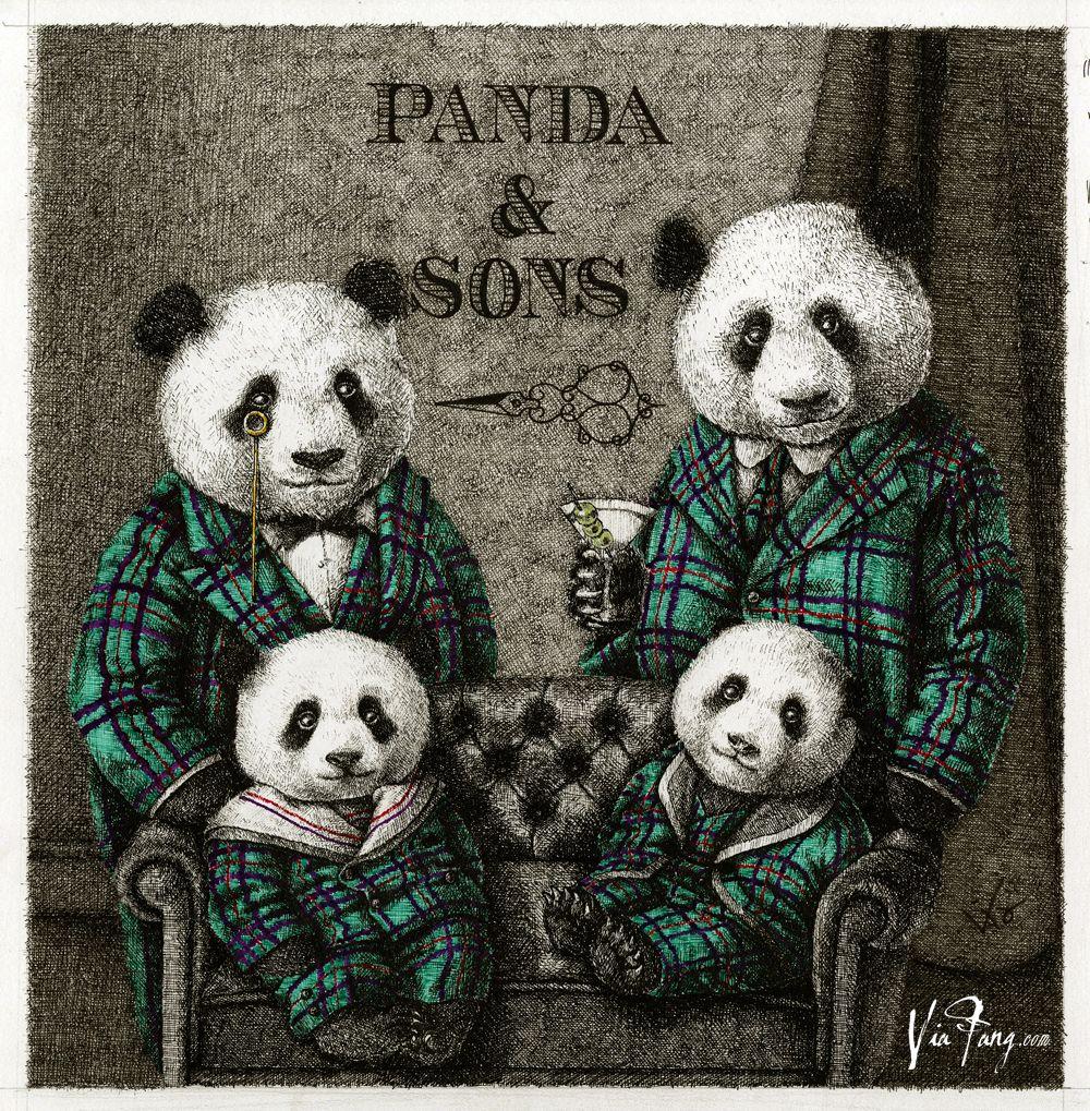Panda & Sons family portrait BY VIA FANG