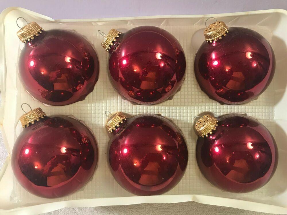 Christmas Ornaments Set Of 6 Burgundy Red Glass By Krebs Ch2630 Christmas Ornament Sets Ornament Set Mercury Glass Christmas Tree