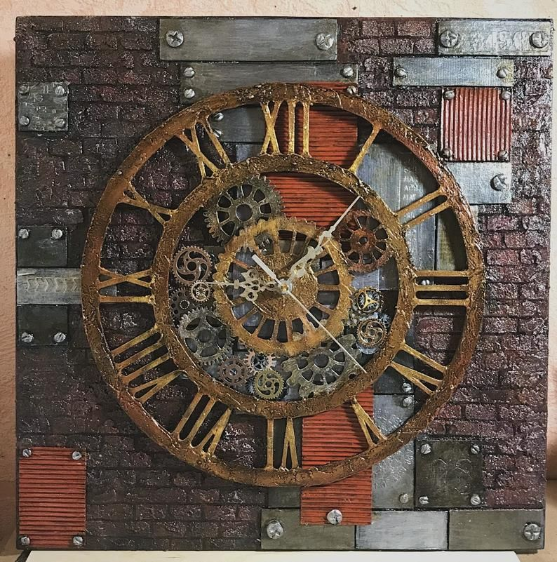 Handcrafted Steampunk Wall Clock Skeleton Wooden Clock Mixed
