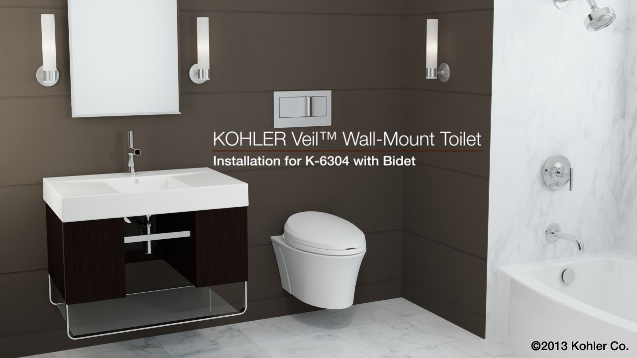 Enjoyable Kohler K 6304 Veil Wall Hung Toilet With C3 Bidet Seat Andrewgaddart Wooden Chair Designs For Living Room Andrewgaddartcom