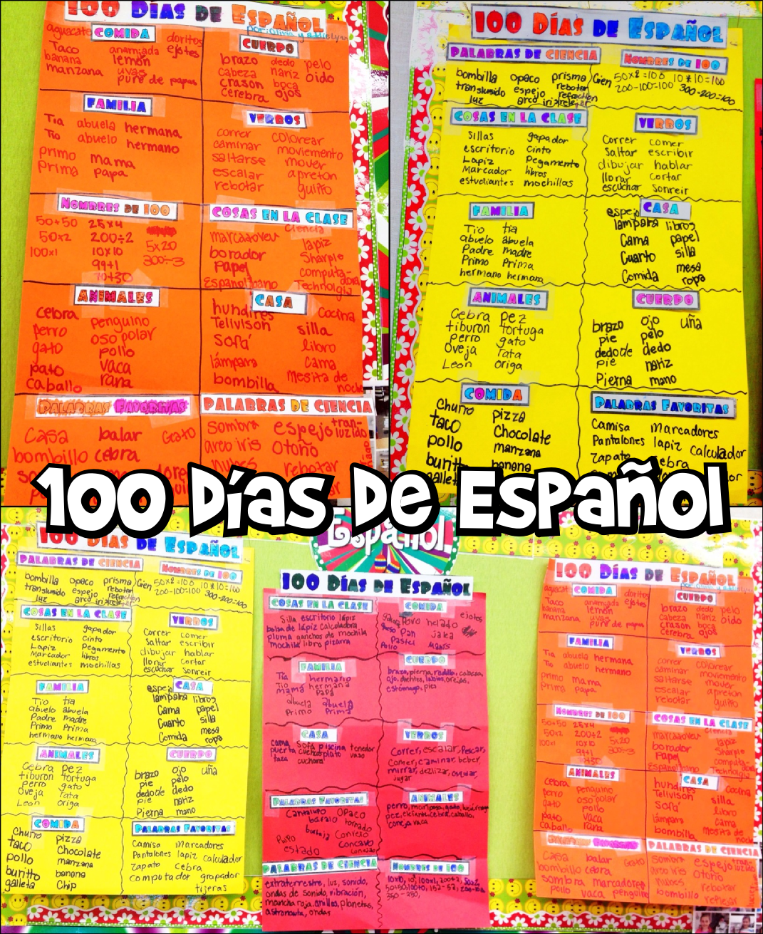 Spanish 100th Day Word Activity