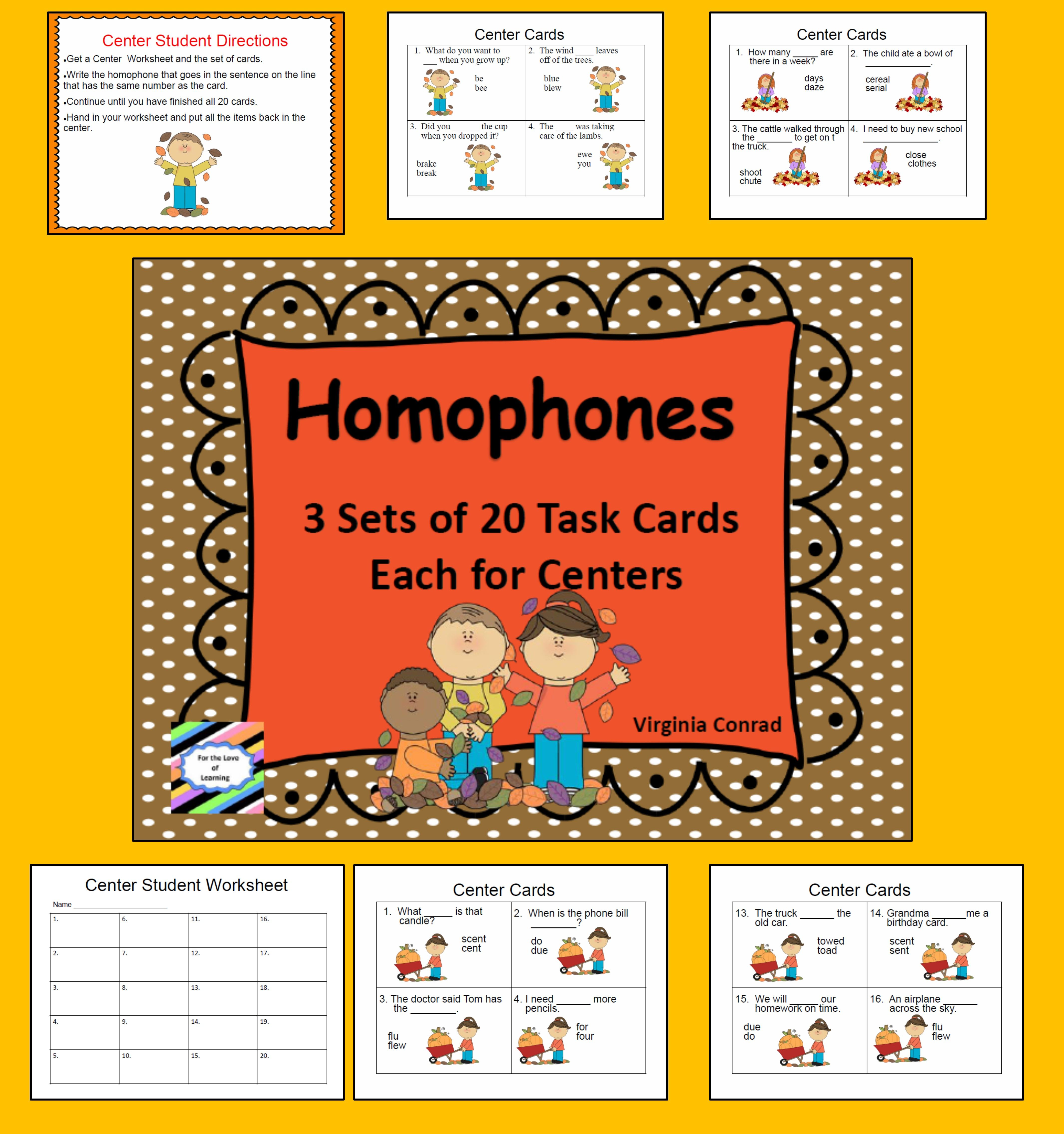 Homophone Task Cards For Centers Fall Theme
