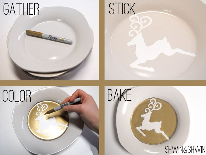 OMG gold sharpie stencil-y ceramic plate tutorial! need to have a craft day u0026 make like a million! & OMG gold sharpie stencil-y ceramic plate tutorial! need to have ...