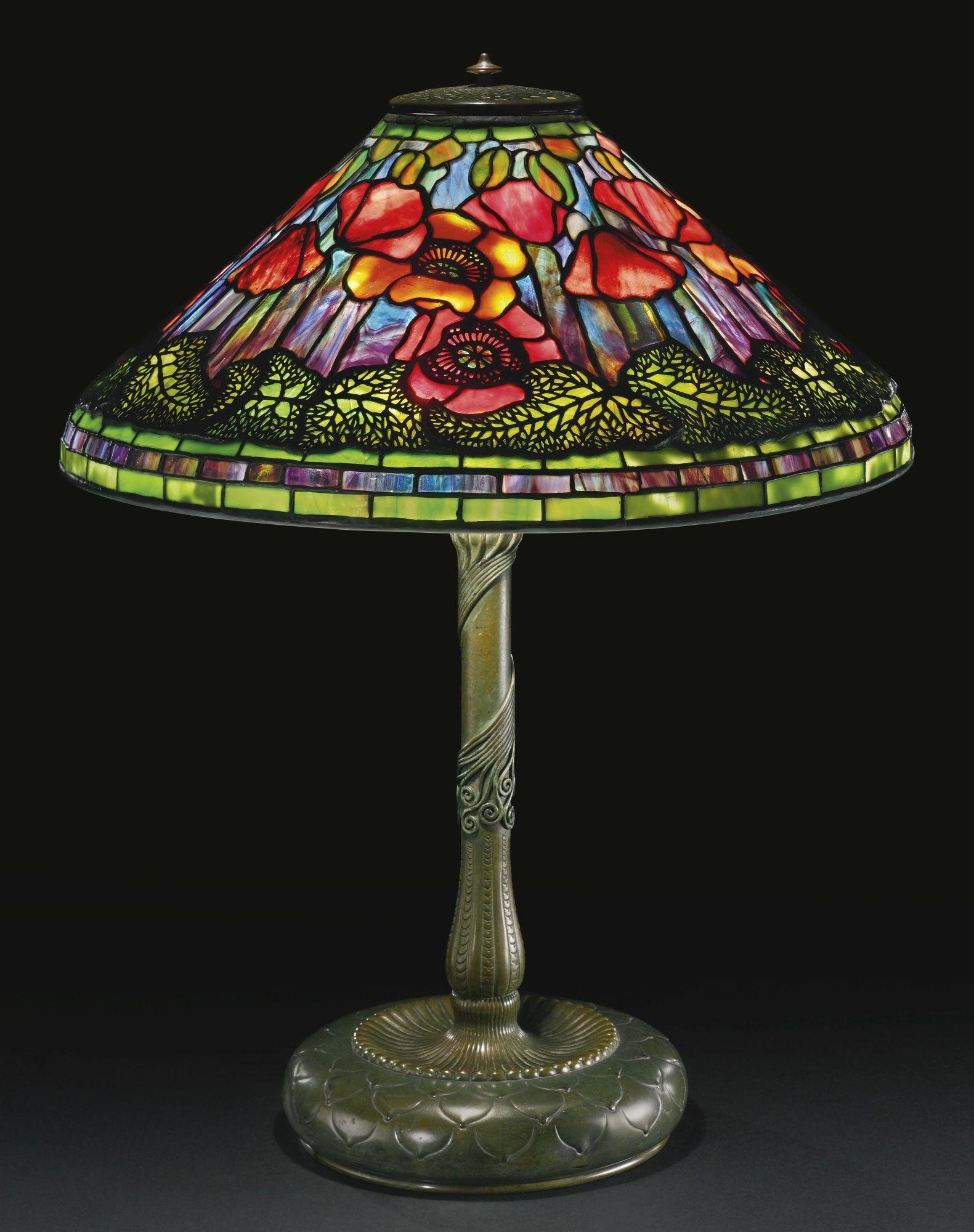 Tiffany Studios Poppy Table Lamp Circa 1905 With Images Svietidla Secesia