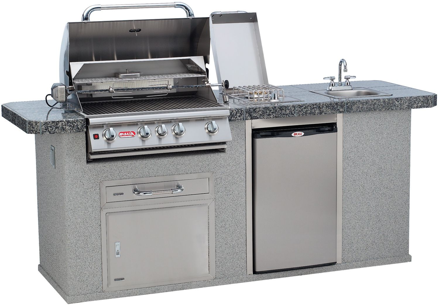Bull Bbq Outdoor Kitchen Complete Bbq Island Comes Standard With A 30 Inch Built In Ga Outdoor Kitchen Grill Outdoor Kitchen Countertops Outdoor Kitchen Island