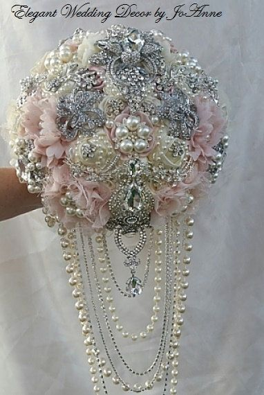 PINK and IVORY BOUQUET- Deposit for Custom Pink and Ivory Bridal Brooch Bouquet, Cascading Bouquet, Jeweled Bouquet, Brooch Bouquet, fp 535