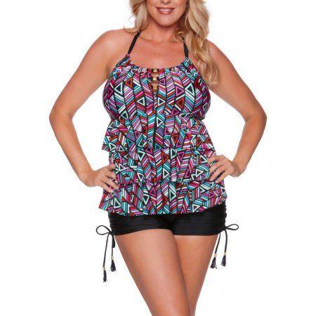 7930c299ed43a Catalina Women s Plus-Size Geo Print Ruffled Halter Tankini Top ...