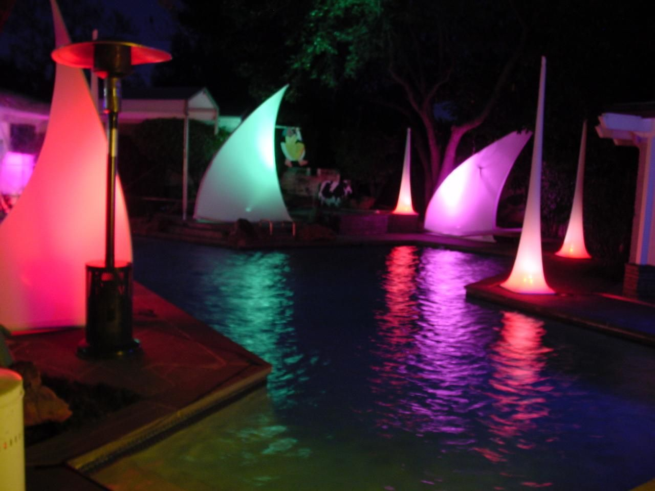 Colorful Corporate Event Pool Decor