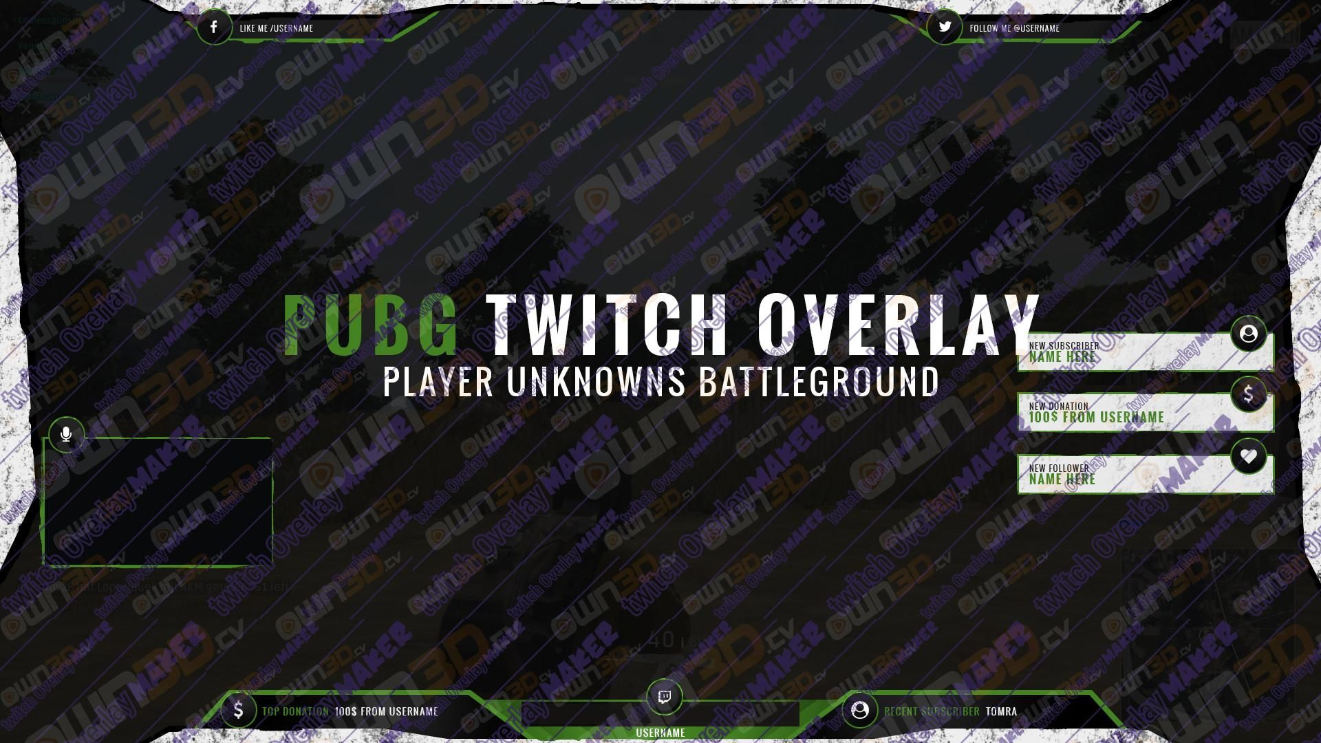 Twitch Overlay Template Royale Green - PUBG   PUBG Twitch