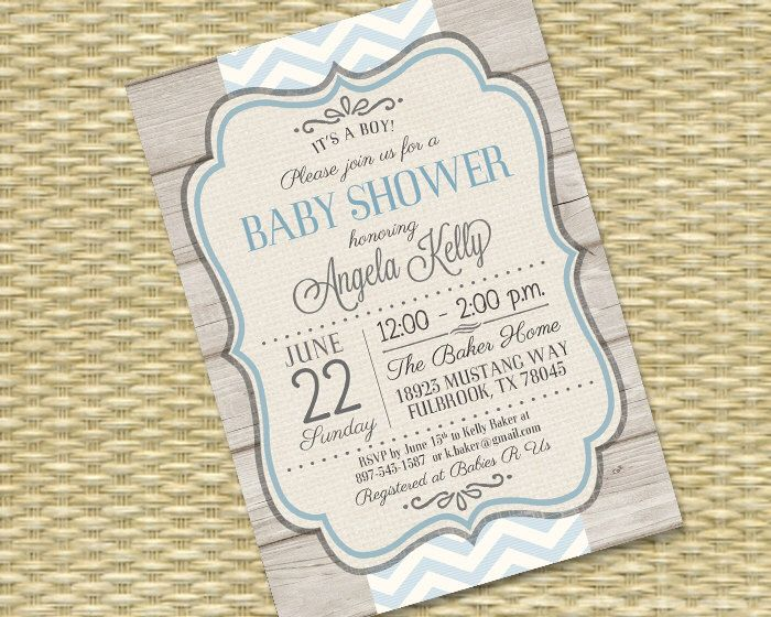 Rustic Baby Boy Shower Invitation Rustic Wood Blue Chevron