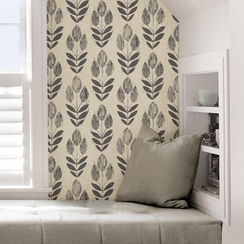 Scandinavian Folk Tulip Contemporary Peel And Stick Wallpaper Peel And Stick Wallpaper Neutral Wallpaper Nuwallpaper