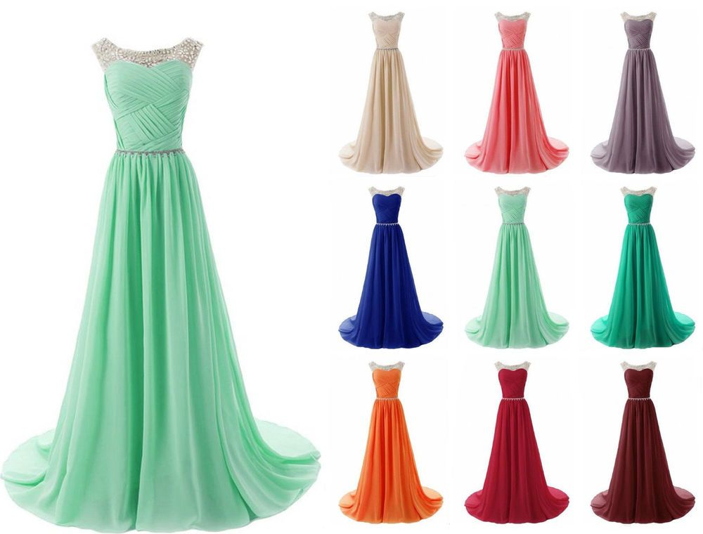 New Long Chiffon Beaded Bridesmaid Evening Formal Party Cocktail Gown Prom Dress