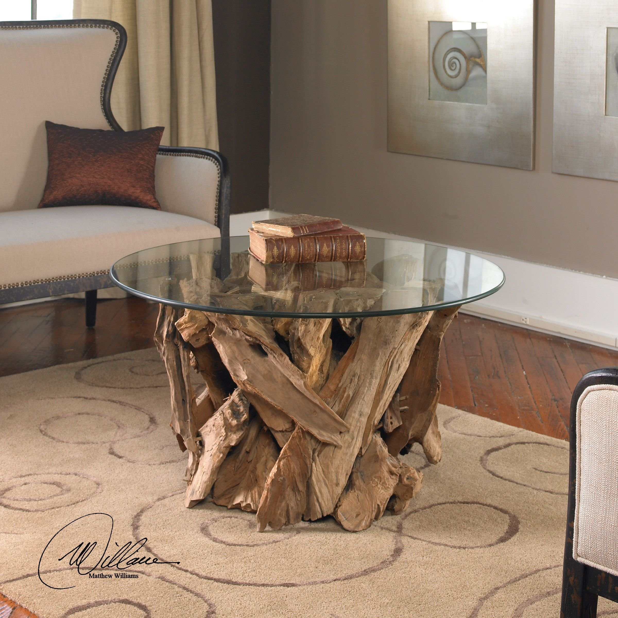 Uttermost Driftwood 36 Round Glass Top Cocktail Table | 25519