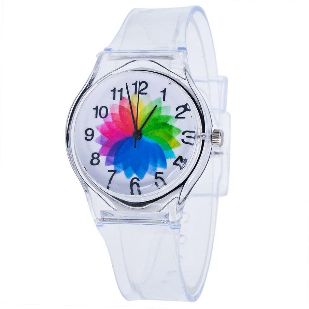 Watches Novelty Cartoon Children Student Transparent Boy Girl Sport Quartz Wrist Watch