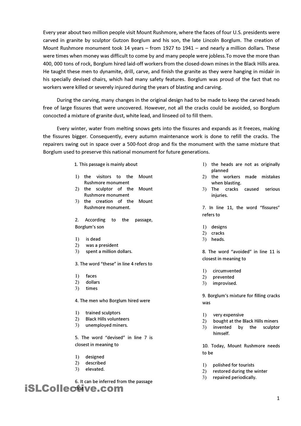 worksheet Fifth Grade Reading Comprehension Worksheets reading with 10 multiple choice questions esl 2 pinterest questions