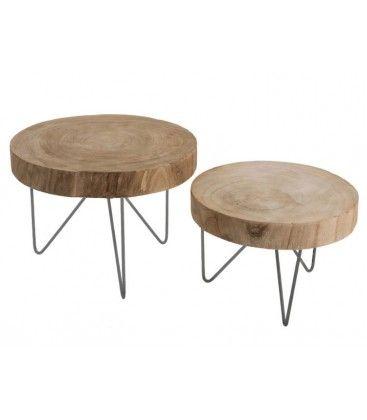 Table dAppoint en Bois et Métal – Diamètre 42cm