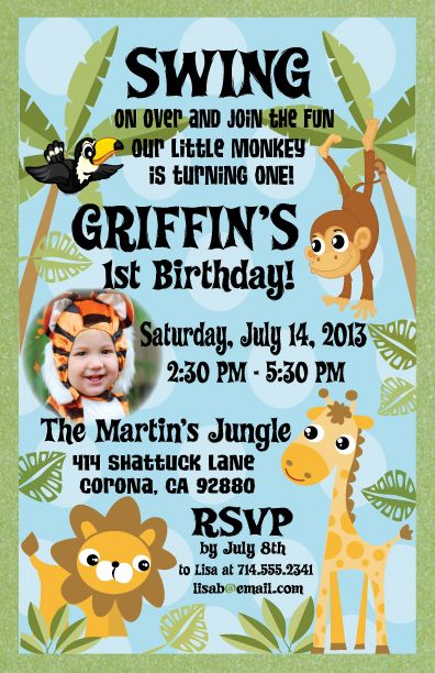Jungle Themed Safari 1st Birthday Invitation