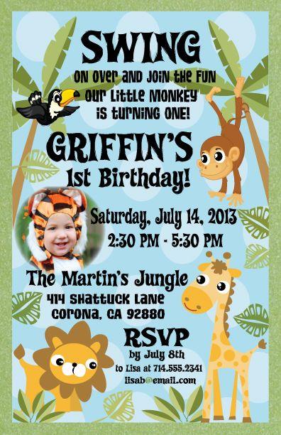 Jungle Themed Safari 1st Birthday Invitation Party ideas