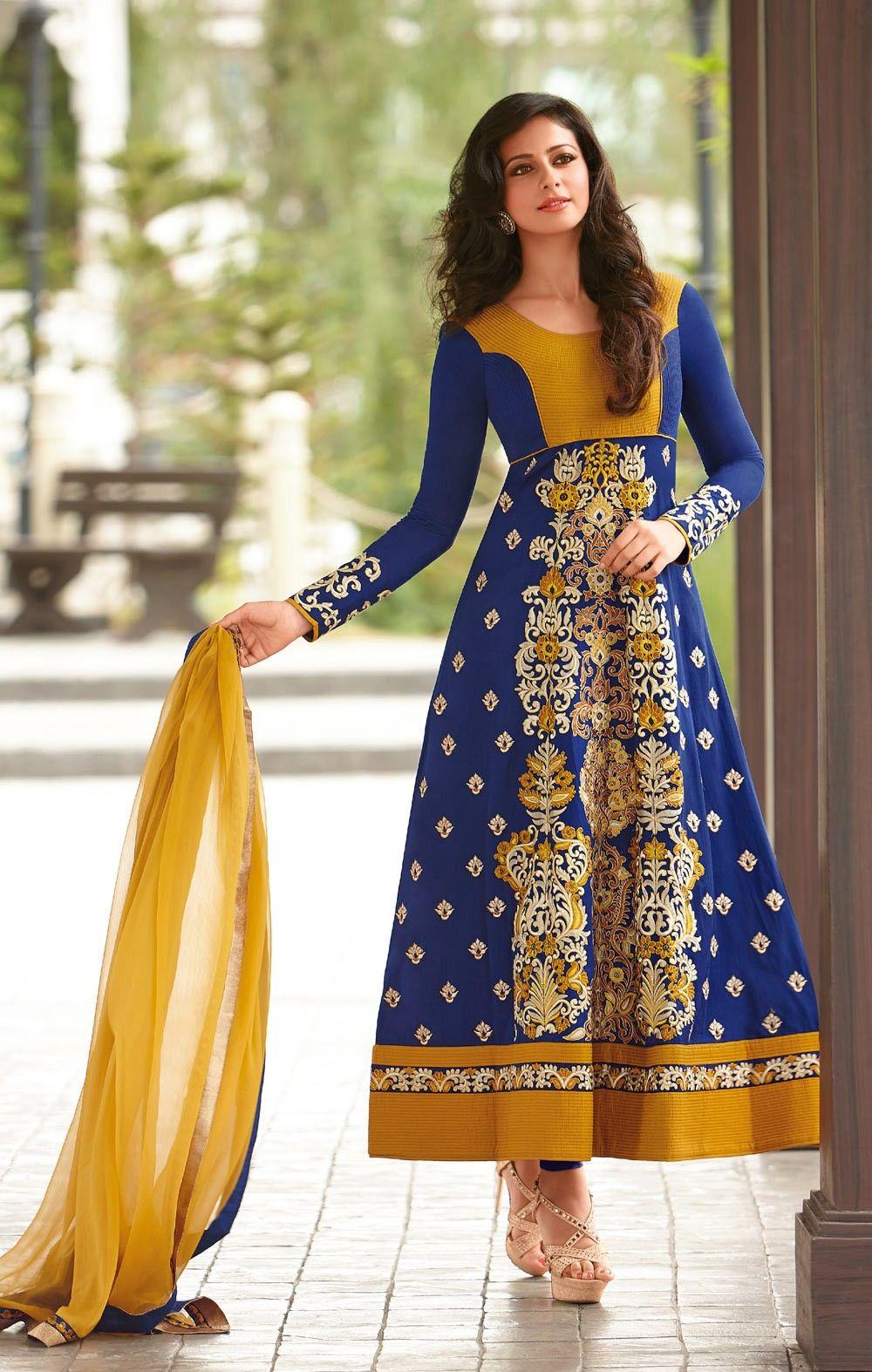 Blue Designer Anarkali Salvar Kameez In Cotton . Shop at - http://www.gravity-fashion.com/blue-designer-anarkali-salvar-kameez-in-cotton-gf9140318.html