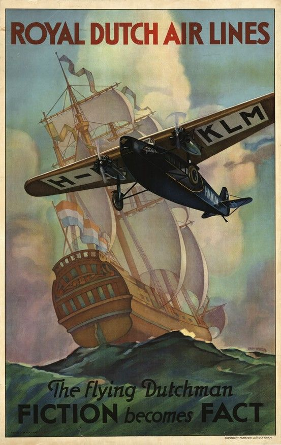 Royal Dutch Airlines poster, 1927