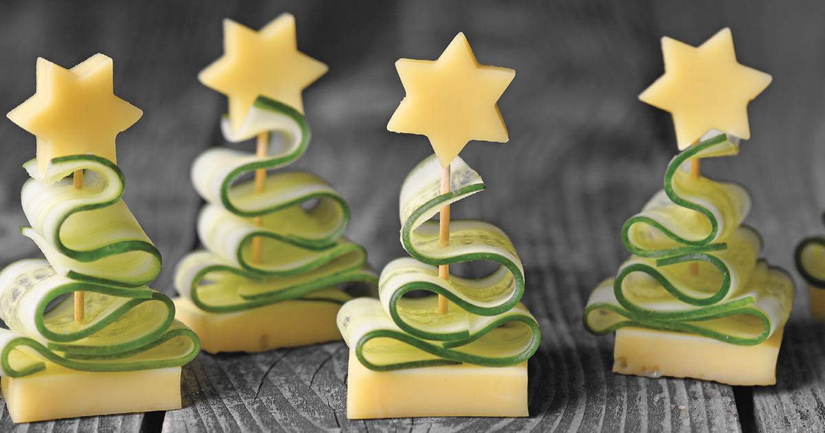Gurken-Käse-Snack als Tannenbaum | Rezepte