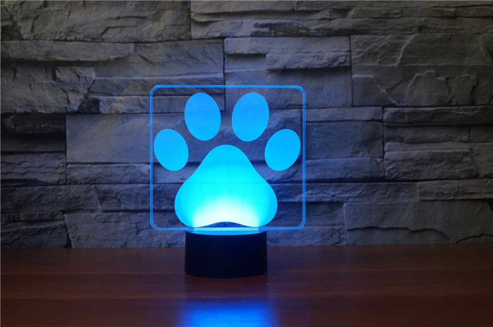 Dog Pas Led Light Dog Paws Dog Paw Print 3d Illusion Lamp