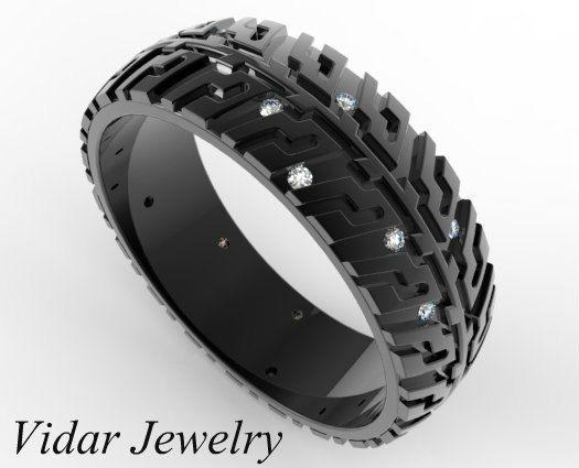 black gold wedding band tire tread diamonds unique wedding