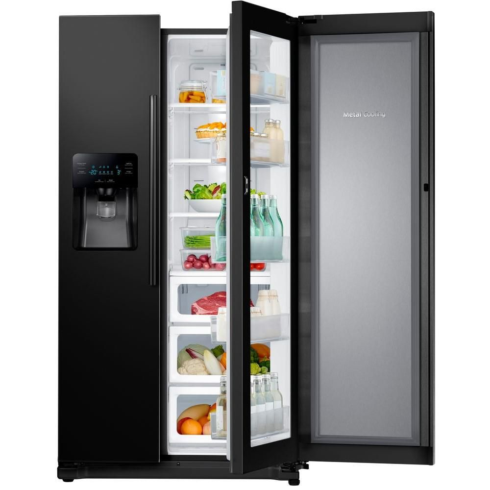 Samsung 24 7 Cu Ft Side By Side Refrigerator In Black With Food Showcase Design Stainless Steel Refrigerator