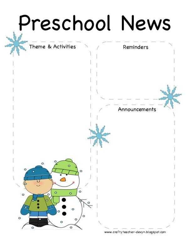 Preschool Winter Newsletter Template Preschool Winter Pinterest