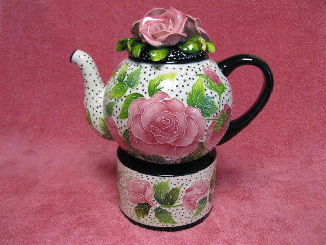 """J McCall  """" Icing on the Cake"""" Tea Pot with Tealight Warmer Stand"""