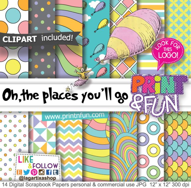 Oh the places you'll go, Dr. Seuss, Digital Paper Patterns