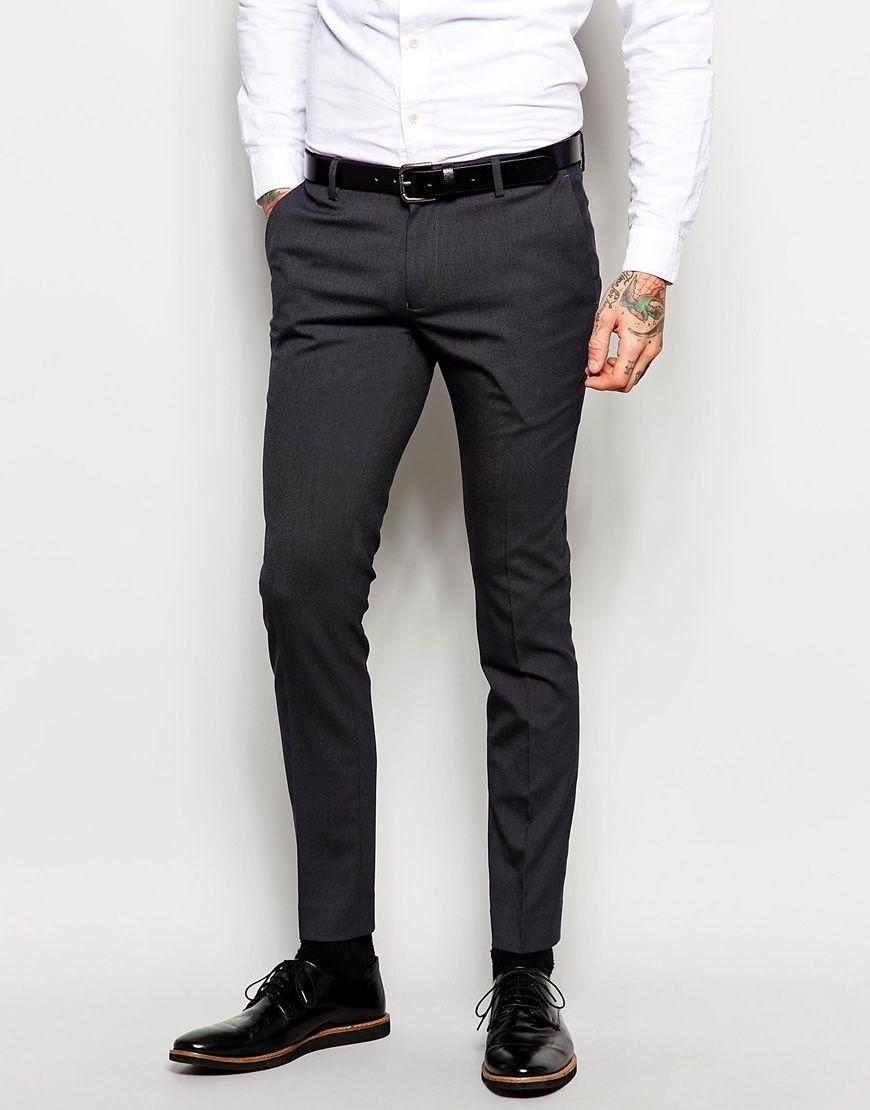 Asos Mens Super Skinny Smart Pantsb Charcoal - Suits