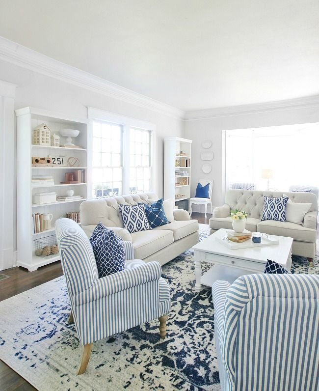 Life Lived in Blue and White  Thistlewood Farm Life Lived in Blue and White  Simple tips for decorating your spaces with blue and white Living room bookshelf rug and acce...