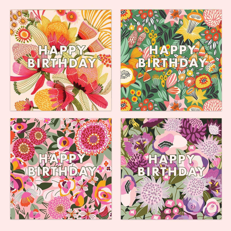 Happy Birthday Card Set Kirsten Katz Print Greeting Cards Blank Greeting Cards Happy Birthday Cards