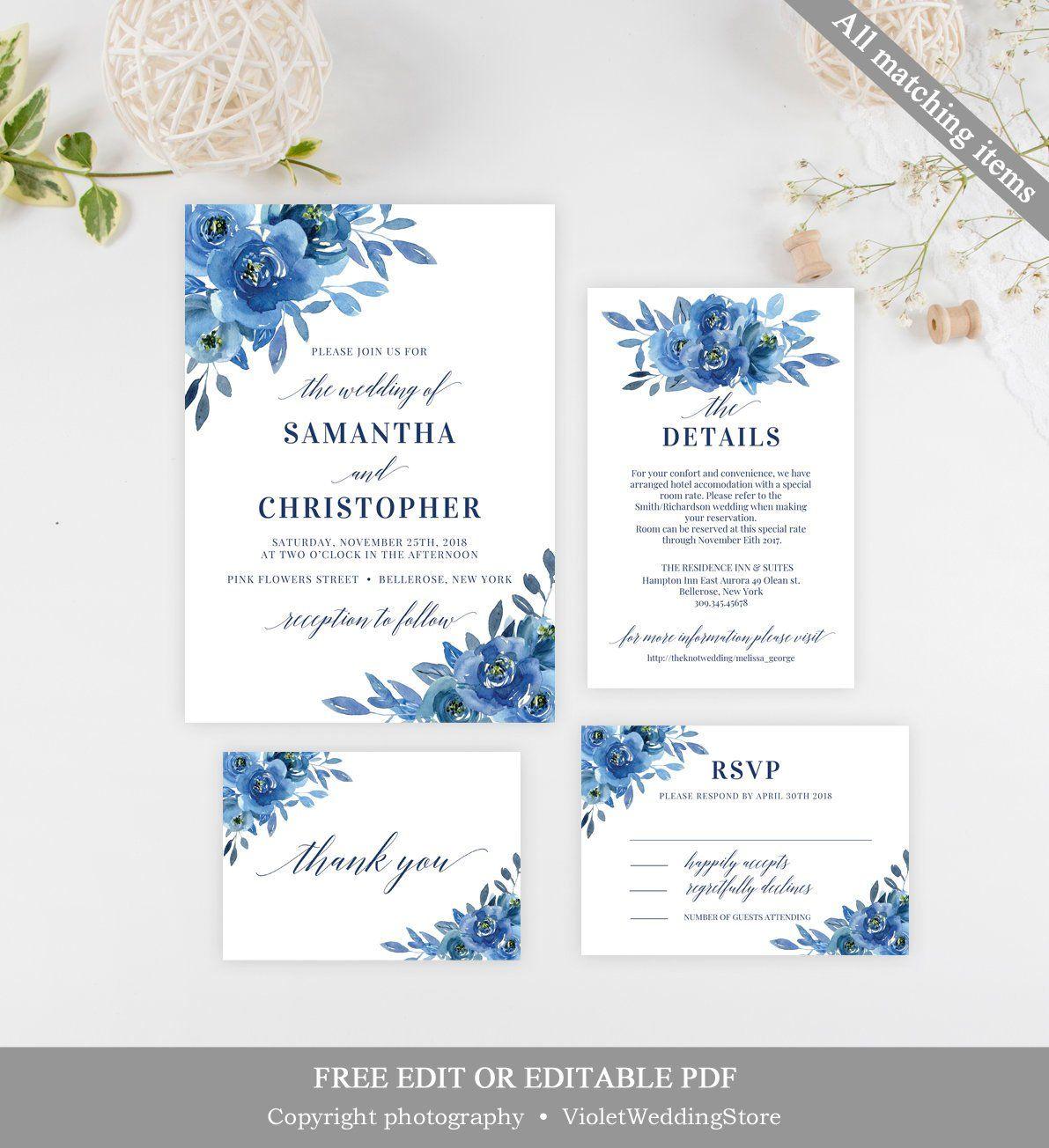 Navy Floral Wedding Invitation Set Template Printable Wedding Invitation Set Mo Flower Wedding Invitation Blue Wedding Invitations Floral Wedding Invitations