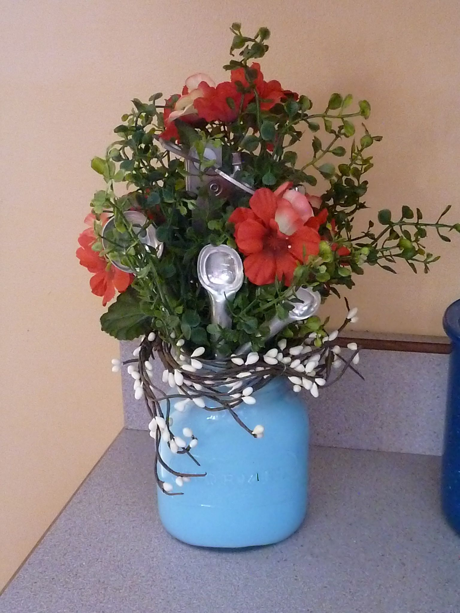 Painted Old Hormel Jar  Repurposed For Vase Kitchen Utensil
