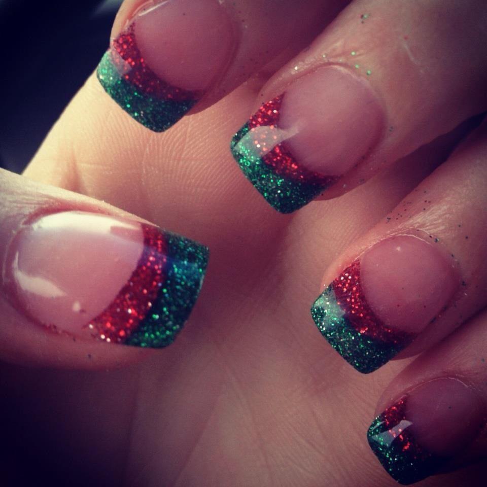 Christmas Gel Nails Manicure: My Christmas Glitter French Manicure! Xmassss Spirittttt