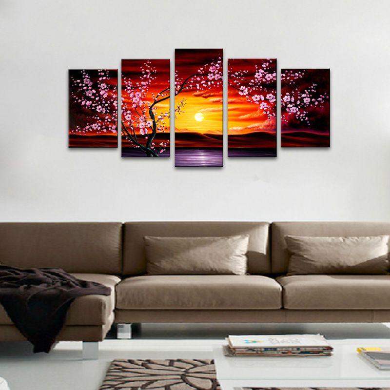 5 Panel Unframed Modern Art Oil Painting Canvas Flower Print Wall  Room Decor
