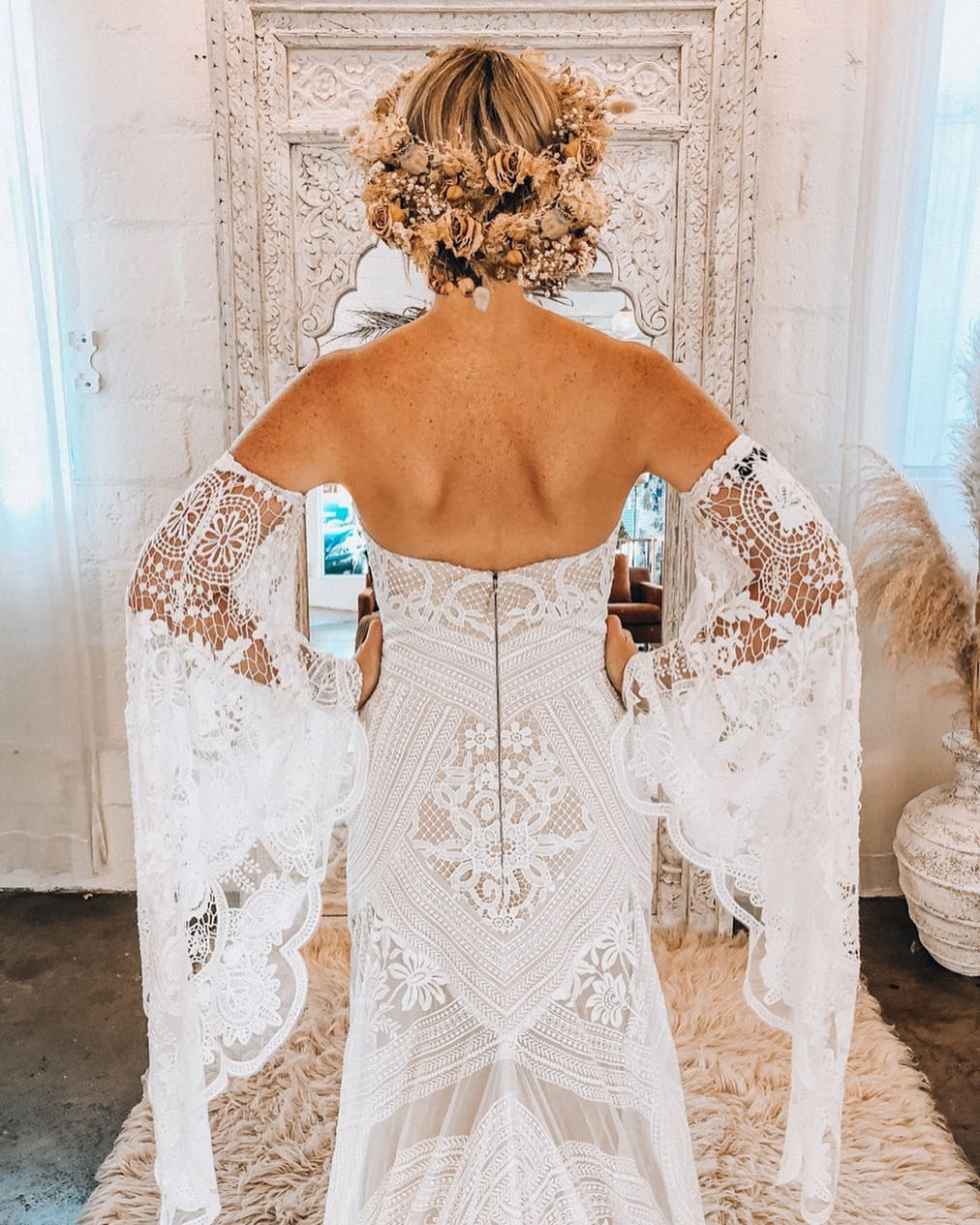 Rue De Seine Bridal On Instagram Adara Gown Fittings We Love When Brides Also Love The Sleeves With Images Boho Bride Wedding Dress Inspiration Wedding Dresses Lace