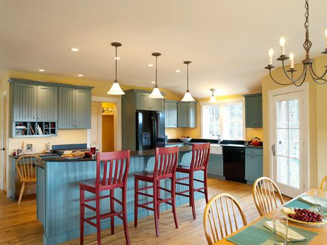 Blue And Yellow Kitchen vintage pendants just divine in vermont farmhouse kitchen