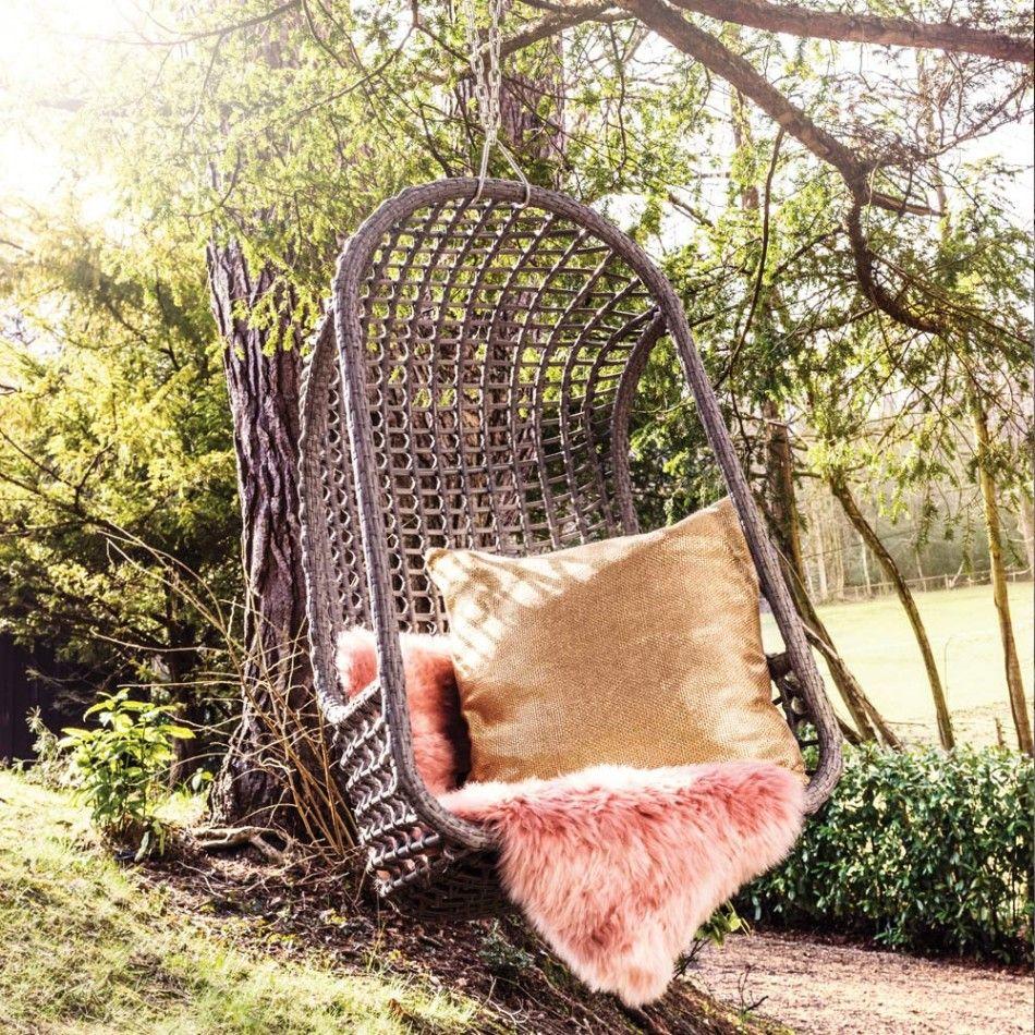 Grey Rattan Hanging Garden Chair, Graham & Green #rattan #hangingchair #sheepskin #festival #party #outdoor #garden #summer #style #homedecor #interiordesign #den #grahamandgreen