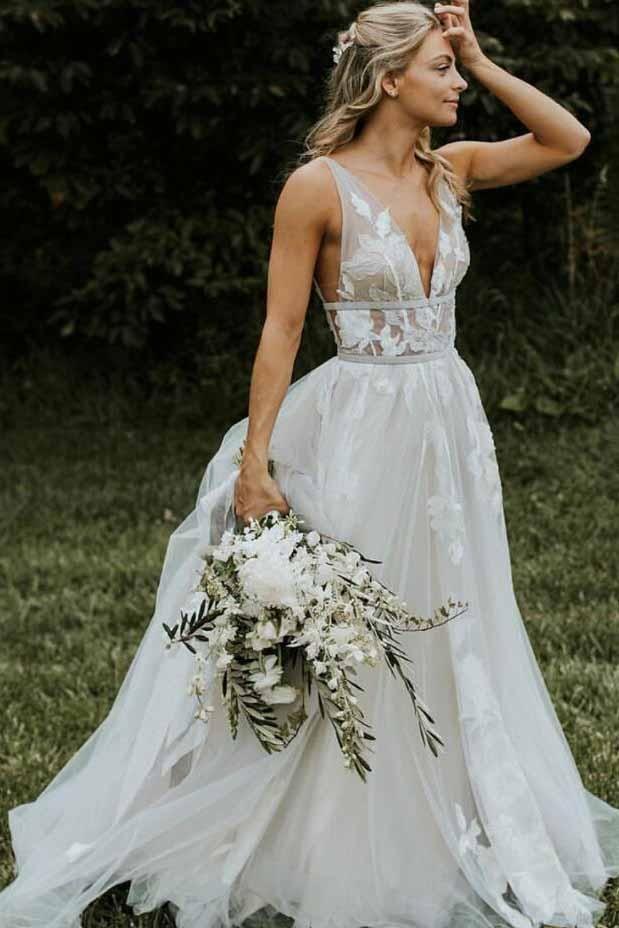 Chic V Neck Ivory Lace Appliques V Back Wedding Dresses with Appliques Lace up W1017 #bohoweddingdress