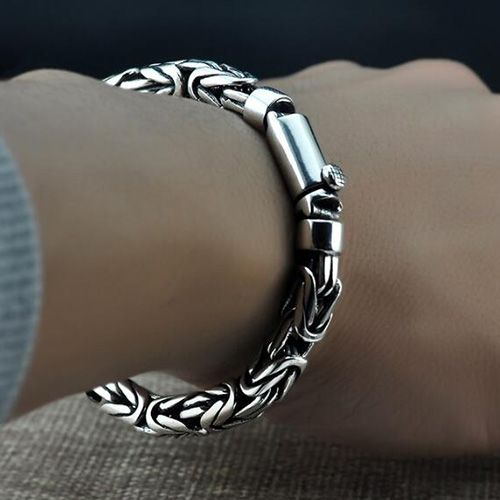 Men S Sterling Silver Byzantine Chain Bracelet
