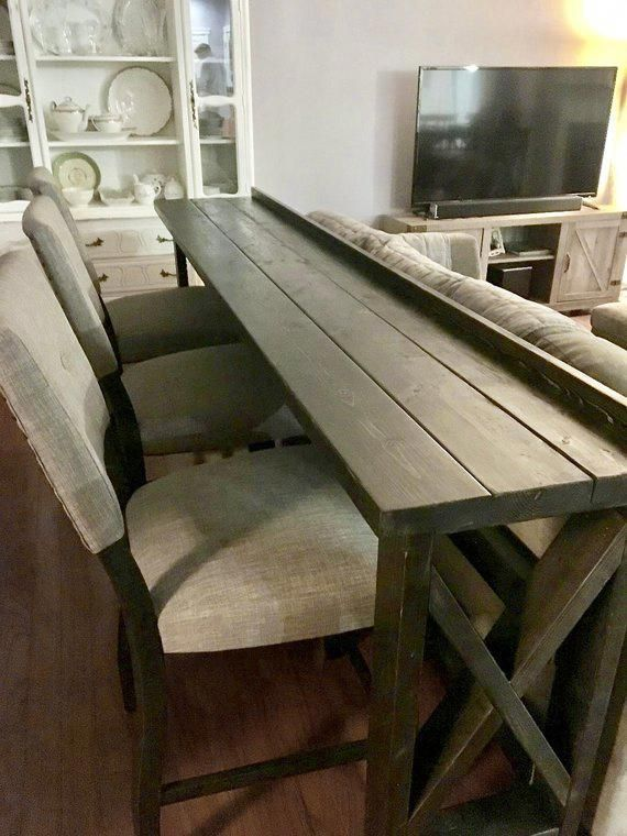 This Sofa Back Bar Table Is A Classy And Smart Way To Add Extra Seating And Dining For Your Guests Even In A Small Space A Sto Diy Sofa Table Home Home
