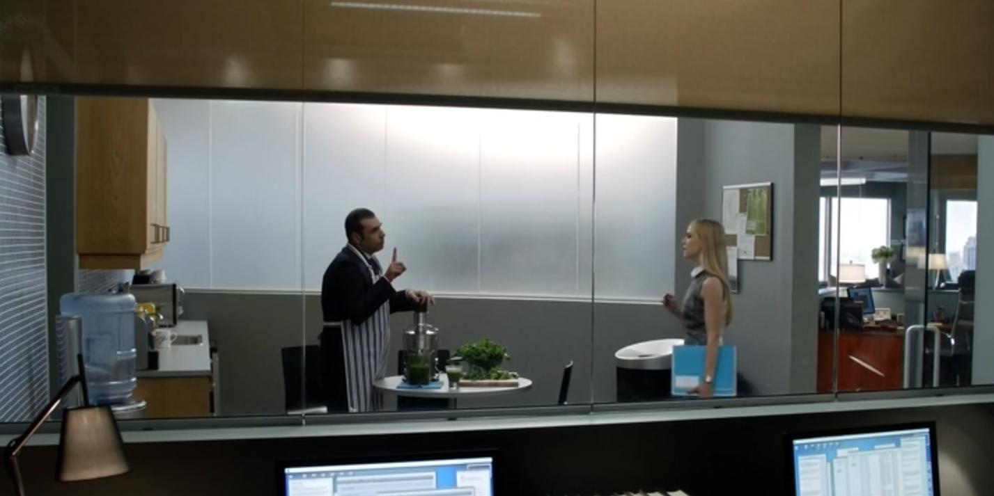 office kitchenette. SUITS - Season 2 Episode 13 Nice Idea To Have An Semi-open Office Kitchenette