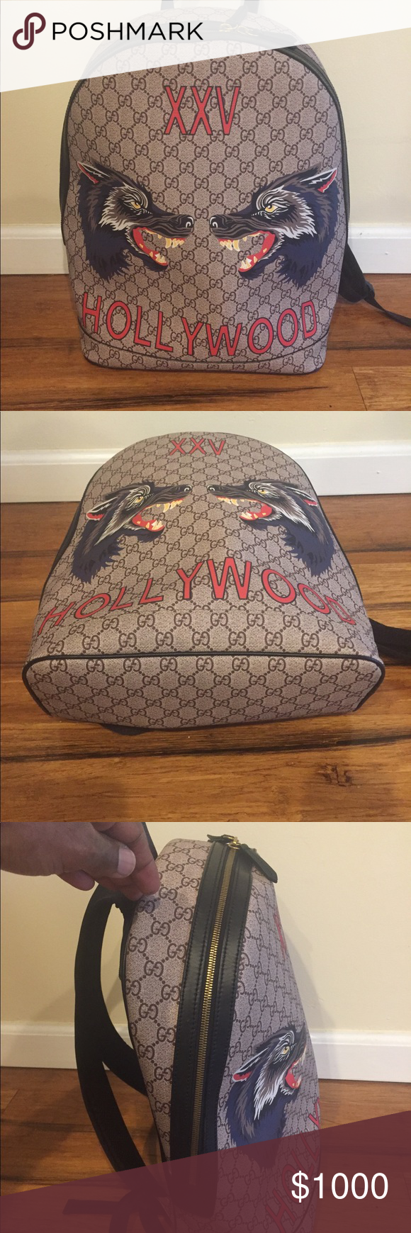 c4213a34f Beige GG Supreme XXV Hollywood Wolf Backpack Worn once Gucci Bags Backpacks