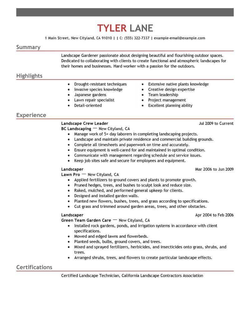 Resume Examples Landscaping Resumeexamples Resume Examples Resume Writing Examples Resume Skills