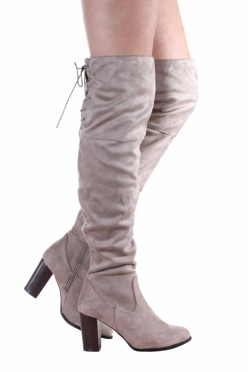 d280e6931b59 Suede western over knee boot women zinc-01-52 qupid taupe